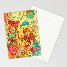 Pink Cloudy Mushroom Stationery Cards