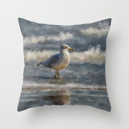 Seagull By The Seashore Throw Pillow