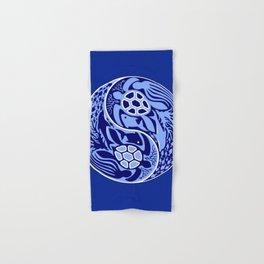 Yin Yang Marine Life Sign Classic Blue Monochrome Hand & Bath Towel