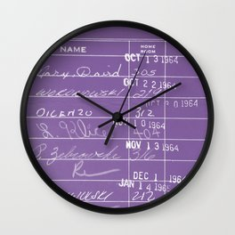 Library Card 23322 Negative Purple Wall Clock