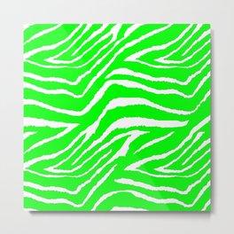 Zebra Animal Print Green and White Pattern Metal Print