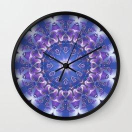 Deep Blue and Purple Fractal Mandala Wall Clock
