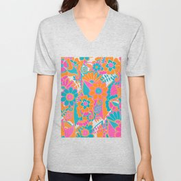 Abstract Floral Pattern Unisex V-Neck