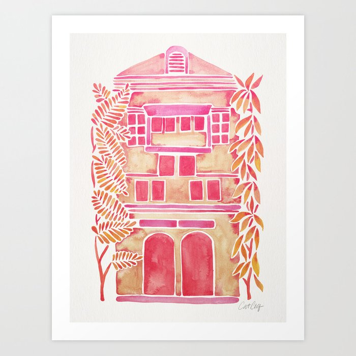 Sunday's Society6 | Tropical pink ombré house art print