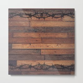 Rustic Wood and Wire Metal Print