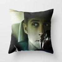 ryan gosling Throw Pillows featuring Ryan Gosling - Drive by Helena McGill