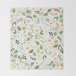 Botanical Spring Flowers Throw Blanket