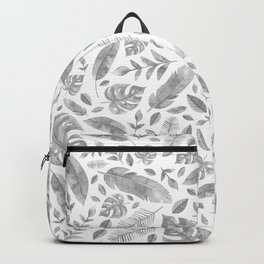 Tropical Leaves in Black and White Backpack