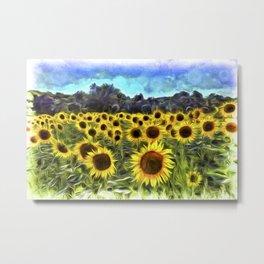 Sunflower Field Vincent Van Goth Metal Print