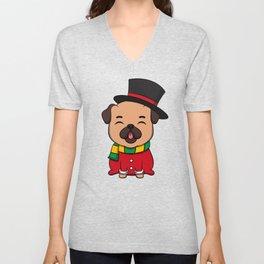 Cute Pug Dog Doggy Hound Winter Time Gift Idea Unisex V-Neck
