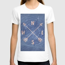 Rosegold and Blue Compass T-shirt