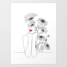 Minimal Line Art Girl with Sunflowers Art Print