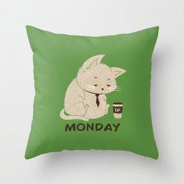 Monday Cat Throw Pillow