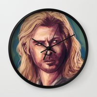 thor Wall Clocks featuring Thor by pandatails