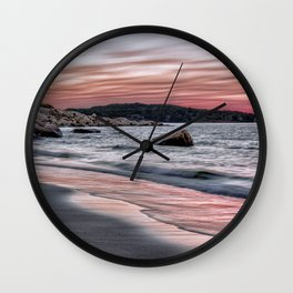 Pink Sunset on the beach Wall Clock
