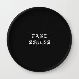 Typographic Fake Smiles Hand Lettering Wall Clock