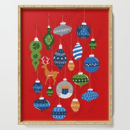 Holiday Ornaments in Red + Blue + Green Serving Tray