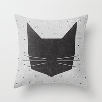 kitty Throw Pillows featuring MEOW by Wesley Bird