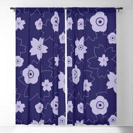 Sakura blossom - midnight blue Blackout Curtain