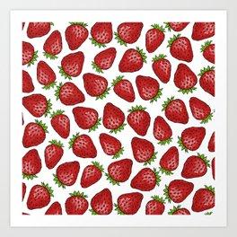 Strawberries pattern design Art Print