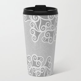 Comtemporary Abstract Leaves Grey Pattern Travel Mug