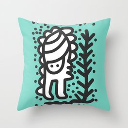 Black and White Street Art Comic in Green Jade Forest  Throw Pillow