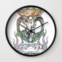 wild things Wall Clocks featuring Wild Things by Carley Lee