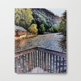 Mountain Scenic landscape at Smoky Mountains on lake Metal Print