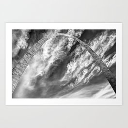 Saint Louis Gateway Arch and Clouds - Black and White Art Print