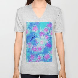 Blue and Hot Pink Succulent Underwater Sedum Flowers Unisex V-Neck