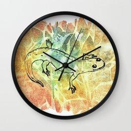 Happy Salamander in Leaf Pile Wall Clock
