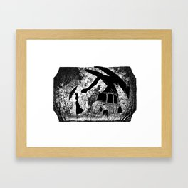 Lady, creature and car Framed Art Print