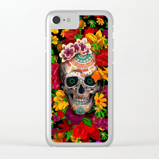 Day of the dead sugar skull flower iPhone 4 4s 5 5c 6, ipod, ipad, pillow case Clear iPhone Case