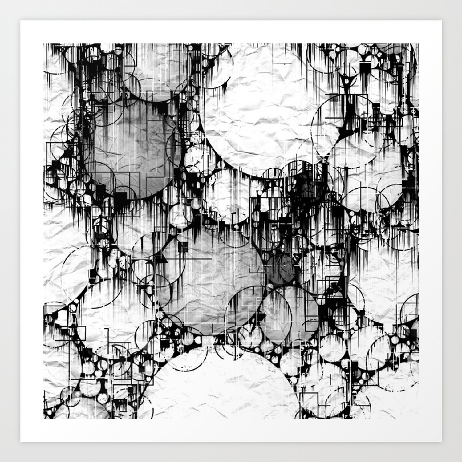 Glitch Black White Circle Abstract Art Print