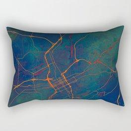 Birmingham Alabama Street Map Art Watercolor Essential Earth Rectangular Pillow