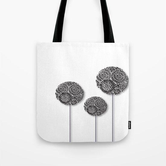 Black Dandelion Tote Bag