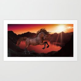A Horse In The Sunset Art Print