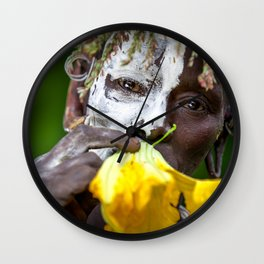 Suri woman with flower Wall Clock
