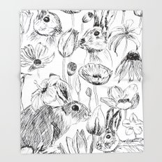 rabbits and flowers parties Throw Blanket