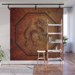 Distressed Chinese Dragon In Octagon Frame Wall Mural