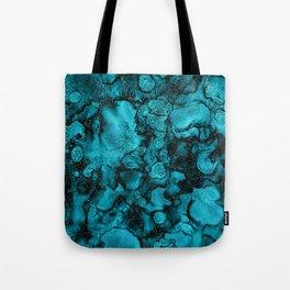 Blue Gemstone and Ink Malachite Glitter Marble Tote Bag