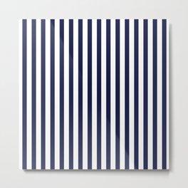 Navy Blue Sailing Stripe Pattern Metal Print