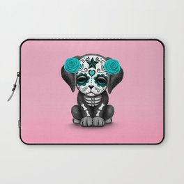 Cute Blue and Pink Day of the Dead Puppy Dog Laptop Sleeve