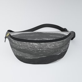 5280 Snowcap // Grainy Black & White Airplane Wing Landscape Photography of Colorado Rocky Mountains Fanny Pack