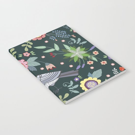 Pattern with beautiful bird in flowers Notebook