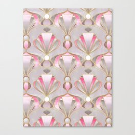 Rose Pink, Grey and Gold Art Deco Canvas Print