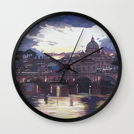 Rome Italy Spectacular Sunset over St Peter Vatican with Tiber and Bridge Wall Clock