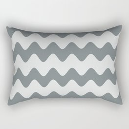 PPG's Night Watch Pewter Green Soft Zigzag Rippled Horizontal Line Pattern Rectangular Pillow