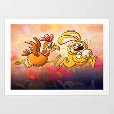 Easter Bunny Stealing an Egg from a Furious Hen Art Print