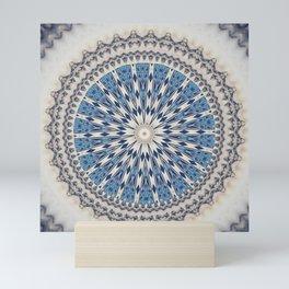 Bright Blue Marble Mandala Design Mini Art Print